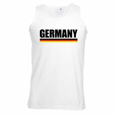 Wit duitsland supporter singlet shirt/ tanktop heren