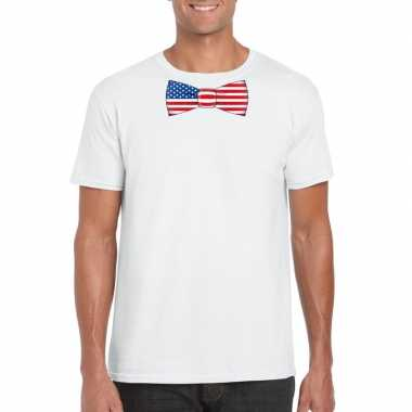Wit t shirt amerika vlag strikje heren