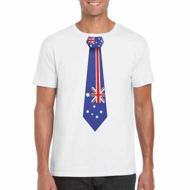 Wit t shirt australie vlag stropdas heren
