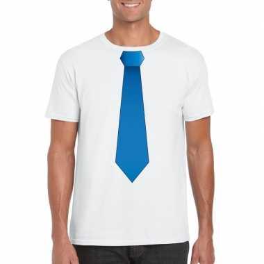 Wit t shirt blauwe stropdas heren