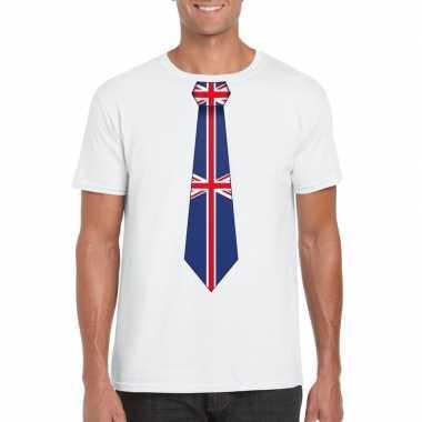 Wit t shirt engeland vlag stropdas heren