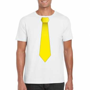 Wit t shirt gele stropdas heren