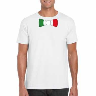 Wit t shirt italie vlag strikje heren