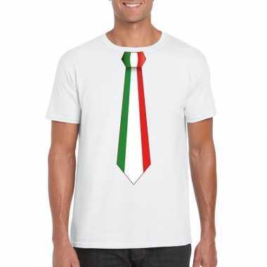 Wit t shirt italie vlag stropdas heren