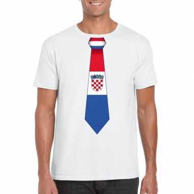 Wit t shirt kroatie vlag stropdas heren