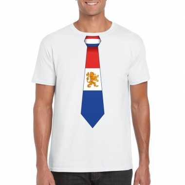 Wit t shirt nederland vlag stropdas heren