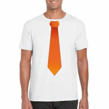 Wit t shirt oranje stropdas heren