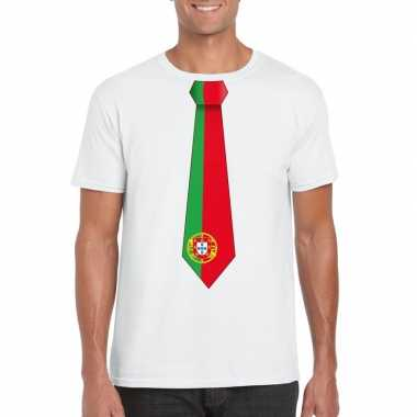 Wit t shirt portugal vlag stropdas heren