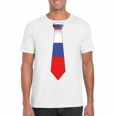 Wit t shirt rusland vlag stropdas heren