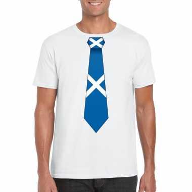 Wit t shirt schotland vlag stropdas heren