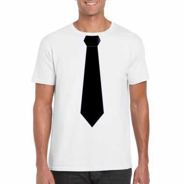 Wit t shirt zwarte stropdas heren