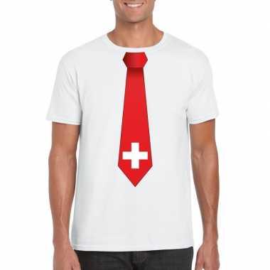 Wit t shirt zwitserland vlag stropdas heren