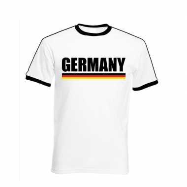 Wit/ zwart duitsland supporter ringer t shirt heren