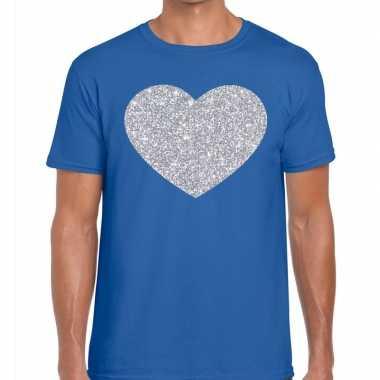 Zilver hart glitter fun t shirt blauw heren