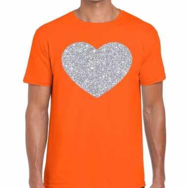 Zilver hart glitter fun t shirt oranje heren