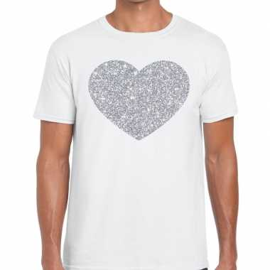 Zilver hart glitter fun t shirt wit heren