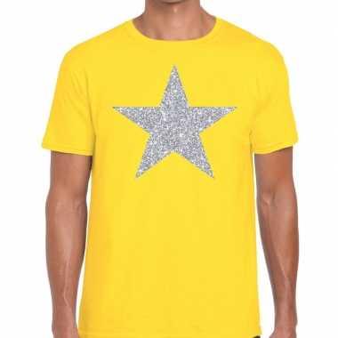 Zilveren ster glitter t shirt geel heren