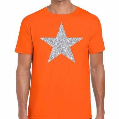 Zilveren ster glitter t shirt oranje heren