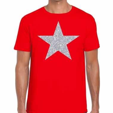Zilveren ster glitter t shirt rood heren