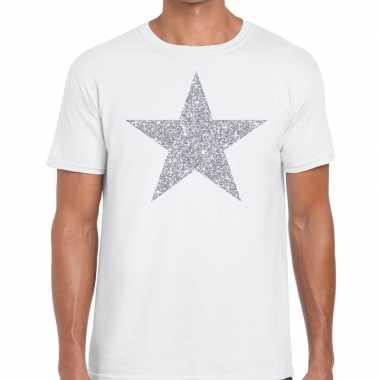 Zilveren ster glitter t shirt wit heren