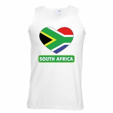 Zuid afrika hart vlag singlet shirt/ tanktop wit heren