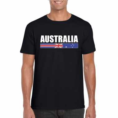 Zwart australie supporter t shirt heren