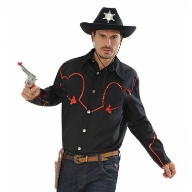 Zwart cowboy shirt rode glitters
