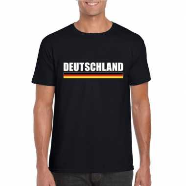 Zwart duitsland supporter t shirt heren