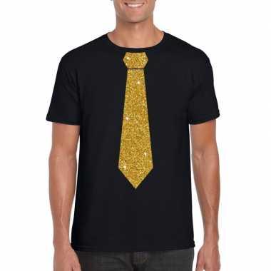 Zwart fun t shirt stropdas glitter goud heren