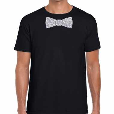 Zwart fun t shirt vlinderdas glitter zilver heren