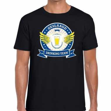 Zwart geslaagd drinking team t shirt heren