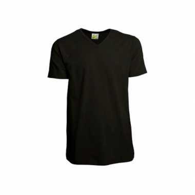 Zwart heren t shirt v hals
