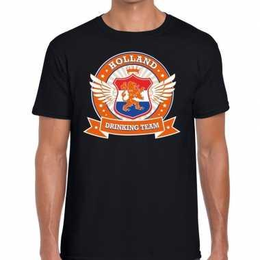Zwart holland drinking team t shirt heren