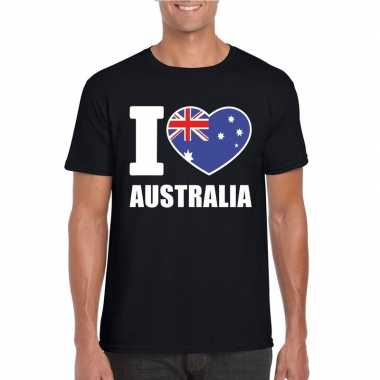 Zwart i love australie fan shirt heren