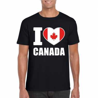 Zwart i love canada fan shirt heren