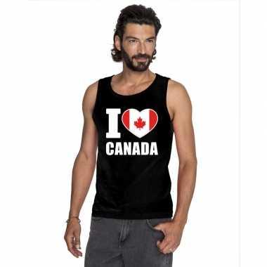 Zwart i love canada fan singlet shirt/ tanktop heren