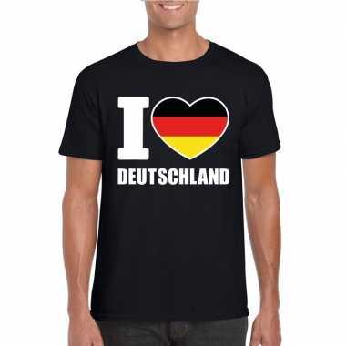 Zwart i love duitsland fan shirt heren
