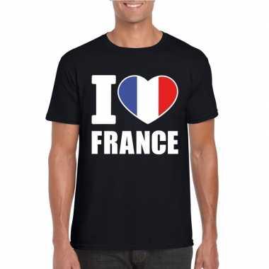 Zwart i love frankrijk fan shirt heren