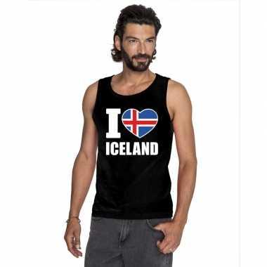 Zwart i love ijsland fan singlet shirt/ tanktop heren