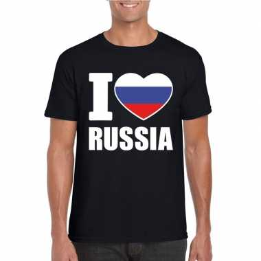 Zwart i love rusland fan shirt heren