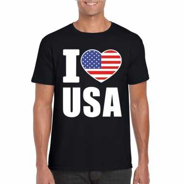 Zwart i love usa amerika fan shirt heren