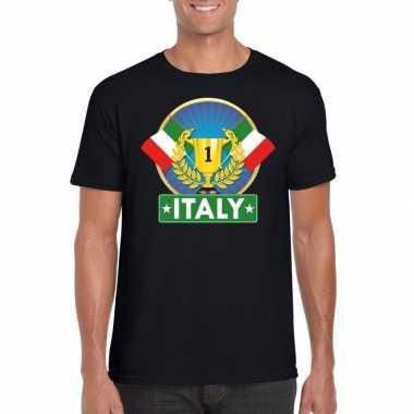 Zwart italie supporter kampioen shirt heren