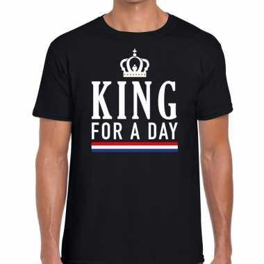 Zwart king for a day t shirt heren