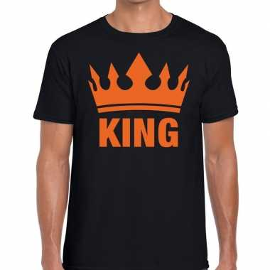 Zwart king kroon t shirt heren