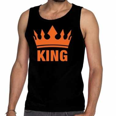 Zwart king kroon tanktop / mouwloos shirt heren