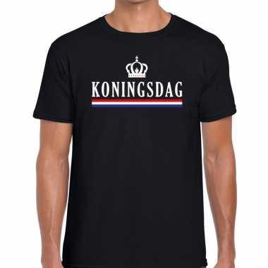 Zwart koningsdag vlag kroontje t shirt heren