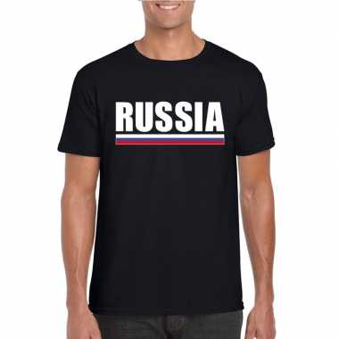 Zwart rusland supporter t shirt heren