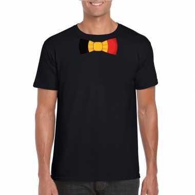 Zwart t shirt belgie vlag strikje heren