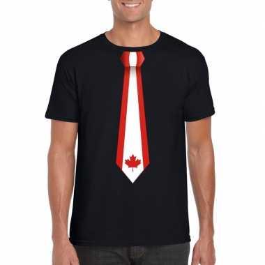 Zwart t shirt canada vlag stropdas heren
