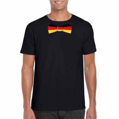 Zwart t shirt duitsland vlag strikje heren